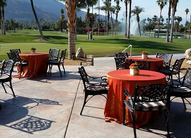 patio dining set up at golf course