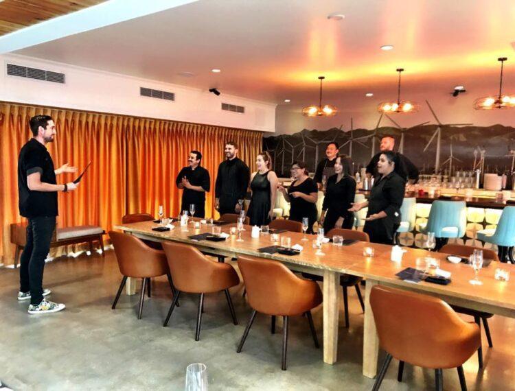 staff inside restaurant