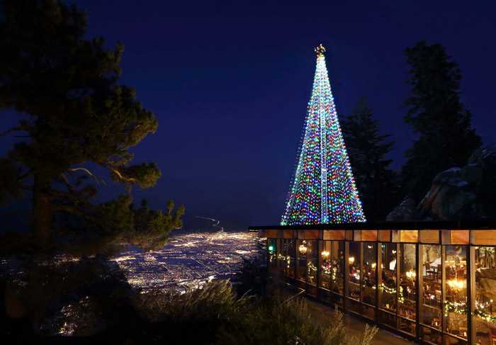 lit Christmas Tree at the mountain station