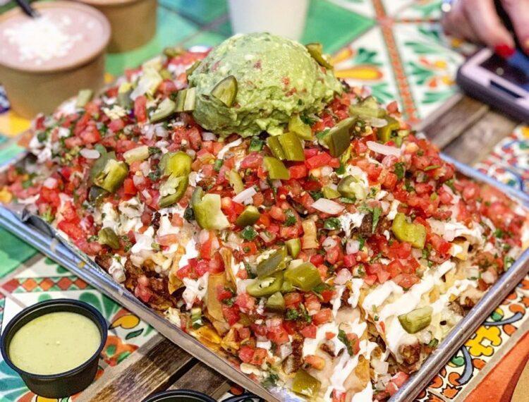 large tray of nachos
