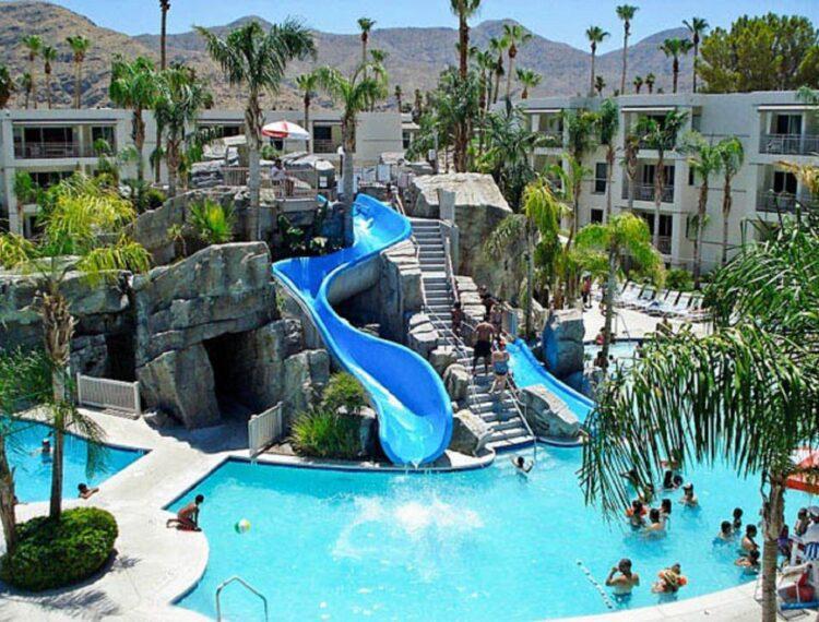 pool and slide at Palm Canyon Resort