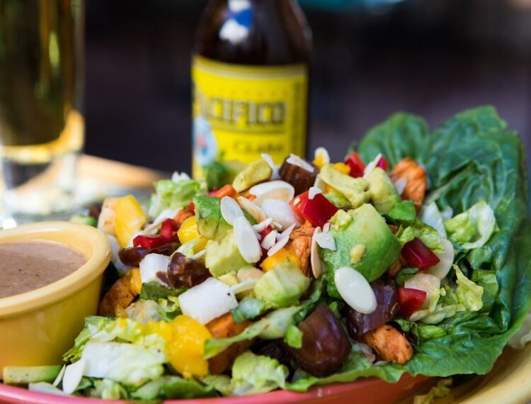 Mexican food dish with beer