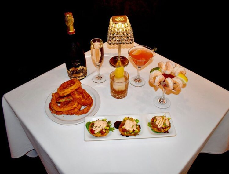 table with food and drinks