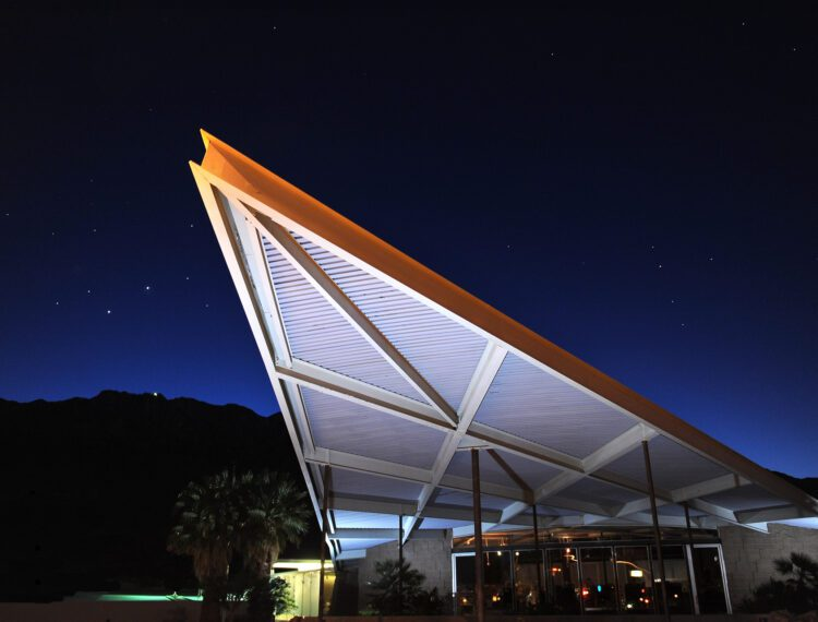 exterior of visitor center at night