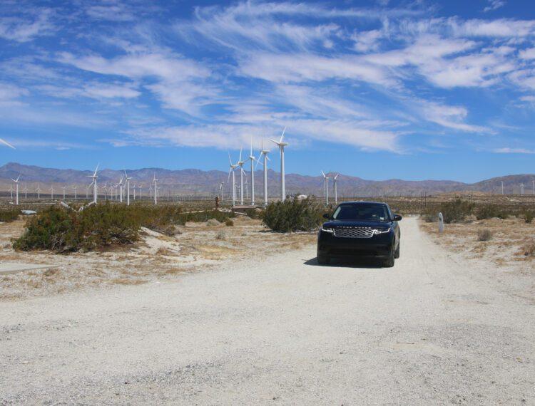 vehicle near wind turbines