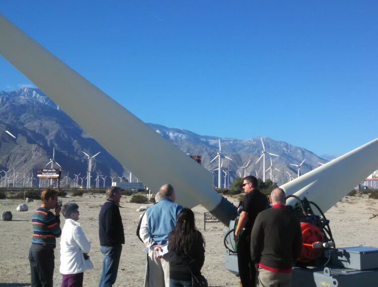 group in front of wind turbines