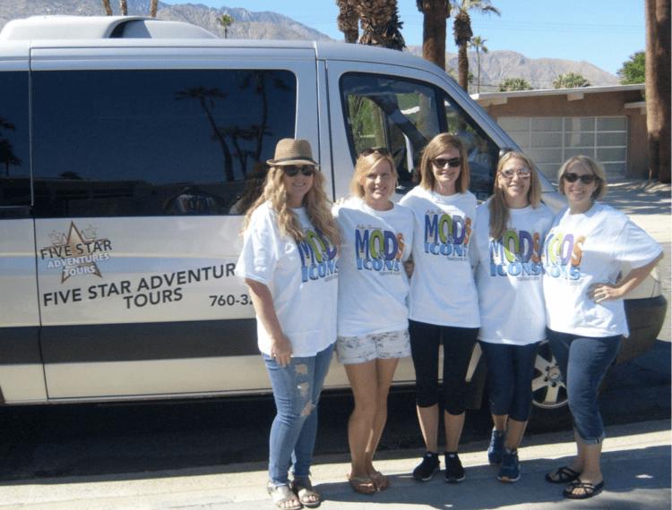 group photo near tour van