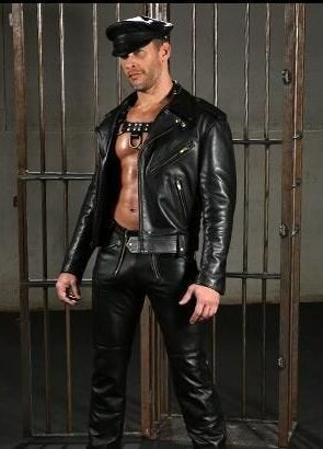 man dressed in all leather