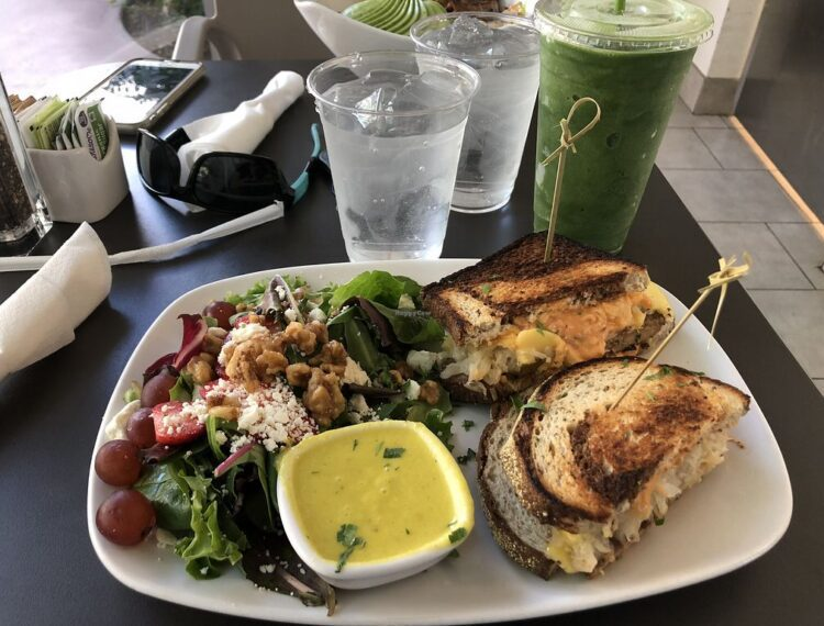 plate with sandwich and salad