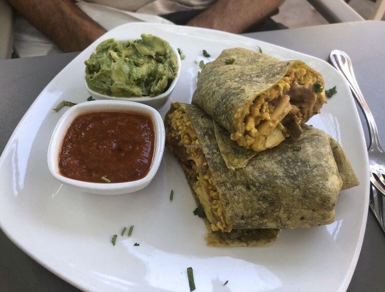 burrito and salsa