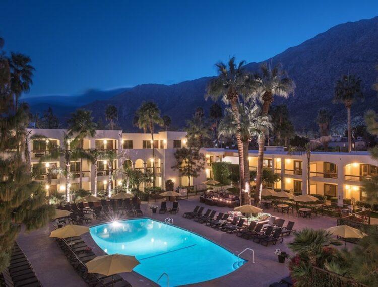 Palm Mountain pool at night