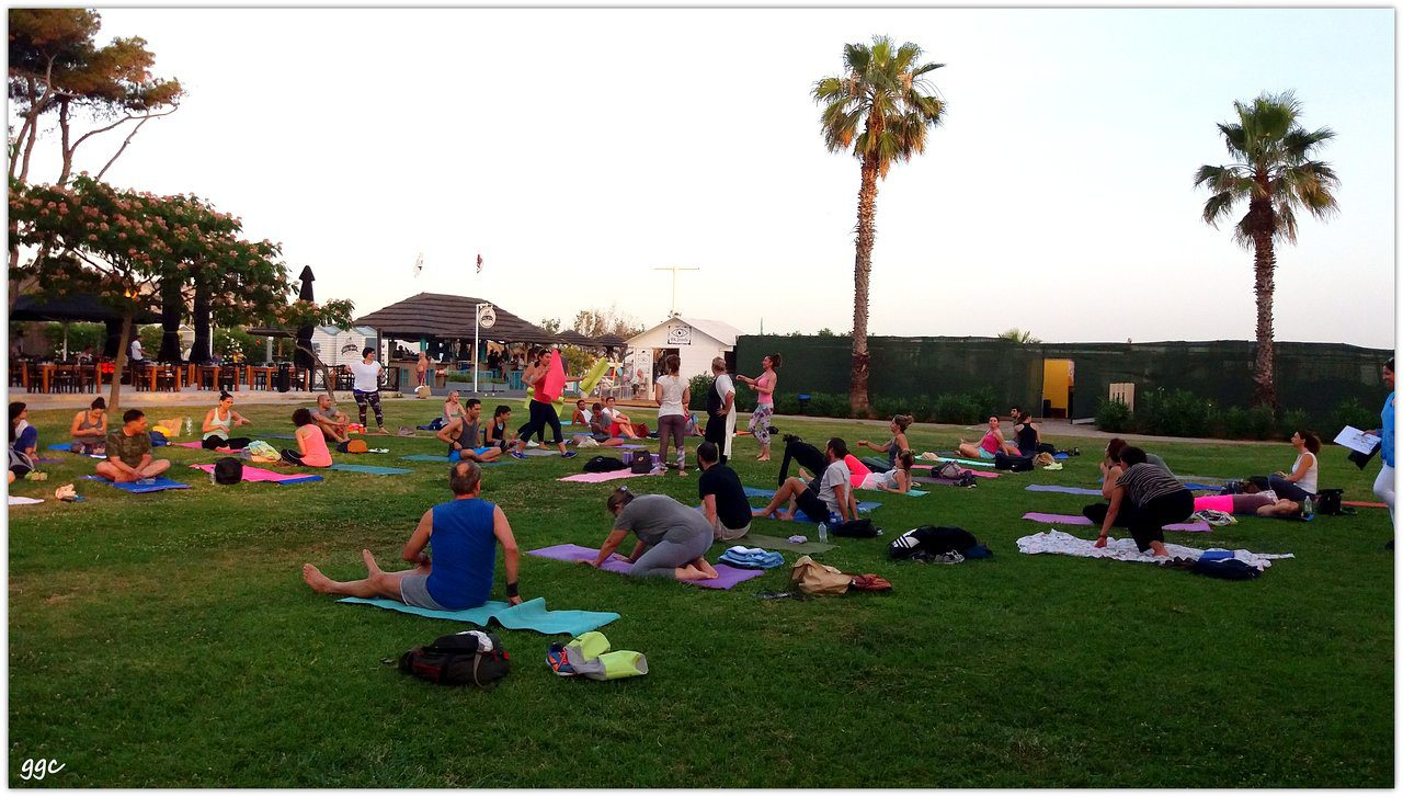 people doing yoga in palm springs