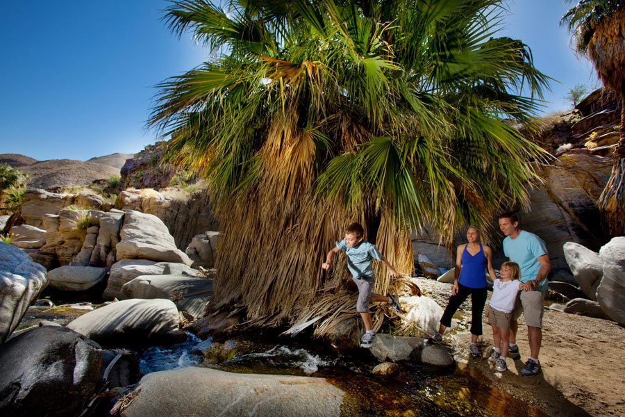 family at indian canyons in palm springs