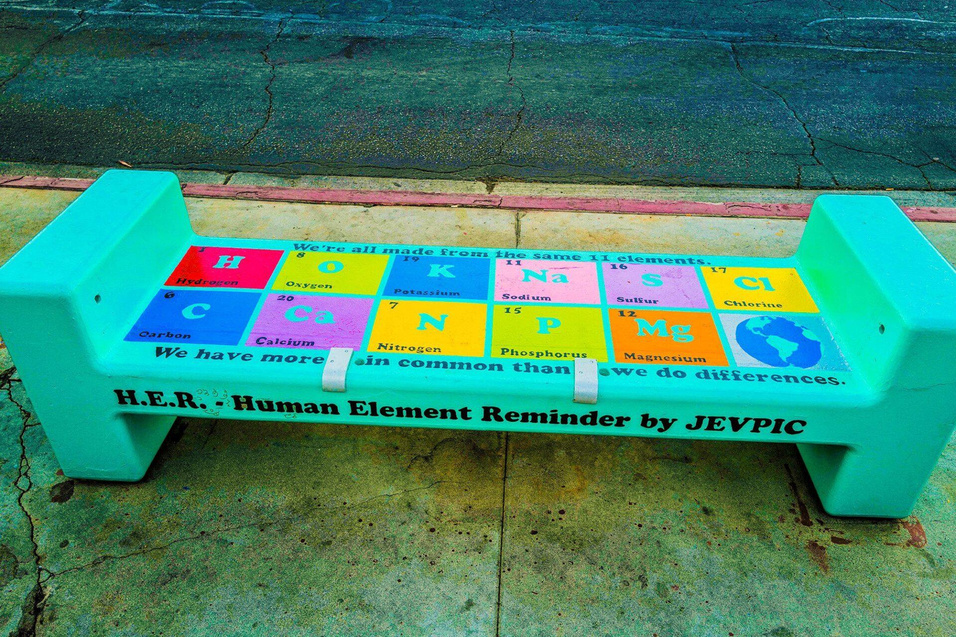 Bench painted by Artist Solomon Everett