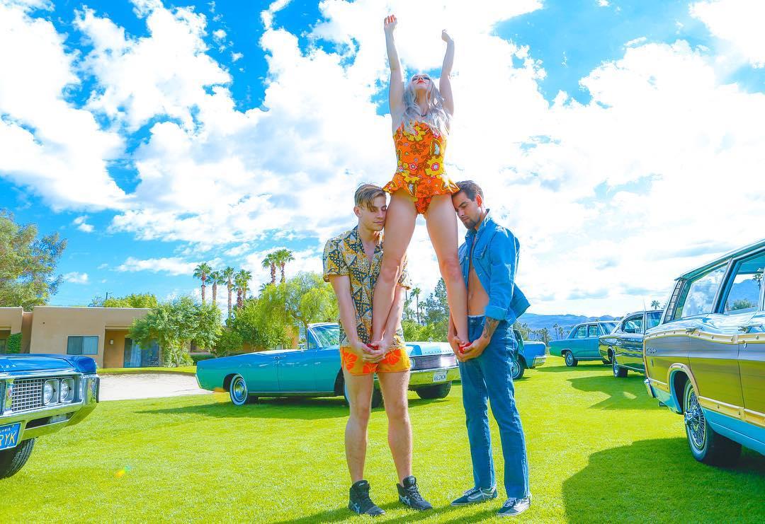 Three people at Modernism Week by Artist Solomon Everett