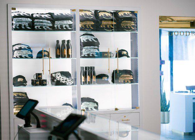 merchandise on shelves