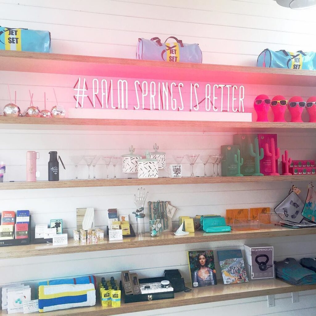 Shelves with merchandise