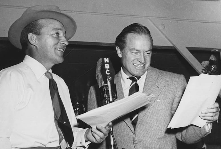 Bing Crosby and Bob Hope share the NBC microphone stationed at the American Legion Post No. 519 in Palm Springs used to broadcast the Kraft Music Hall variety show. PHOTOGRAPHS COURTESY AMERICAN LEGION POST NO. 519