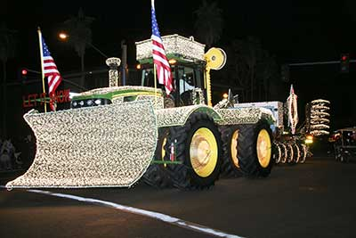 Tractor with light decorations