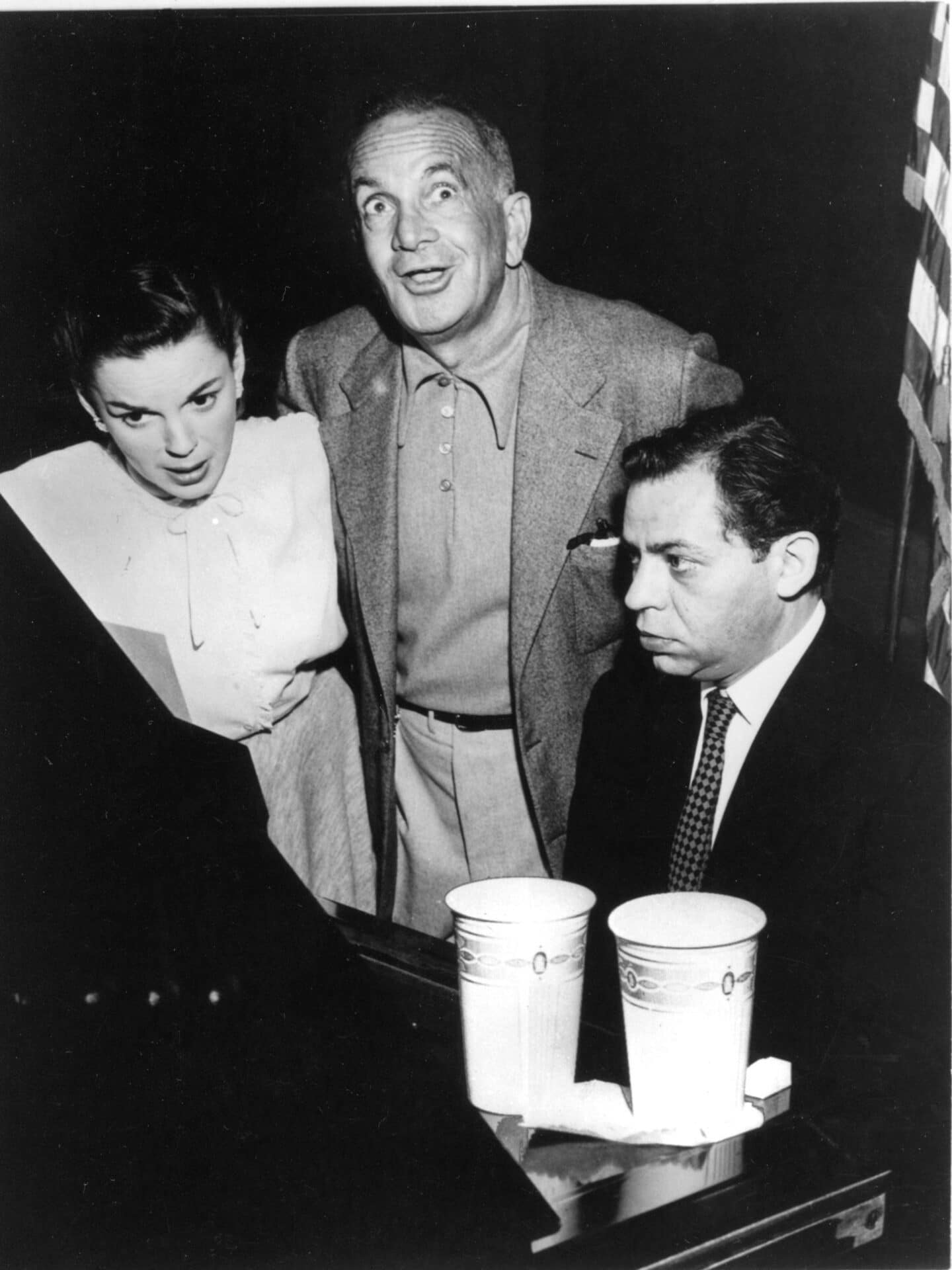 Judy Garland, Al Jolson, and pianist Oscar Levant on stage at Post 519 playing on our 1905 Steinway.
